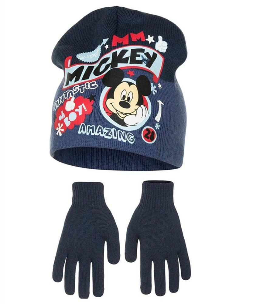 Čiapka a rukavice Mickey modré,šedé,červená červená;52
