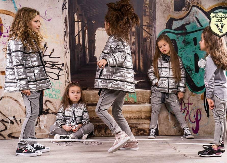 Dievčenská bunda strieborná Kid's By Voga Italia 110/116