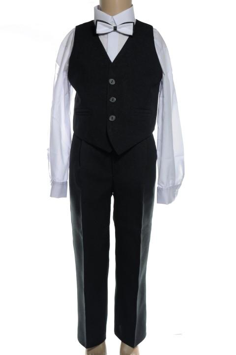Detský oblek- vesta+nohavice 146 čierna