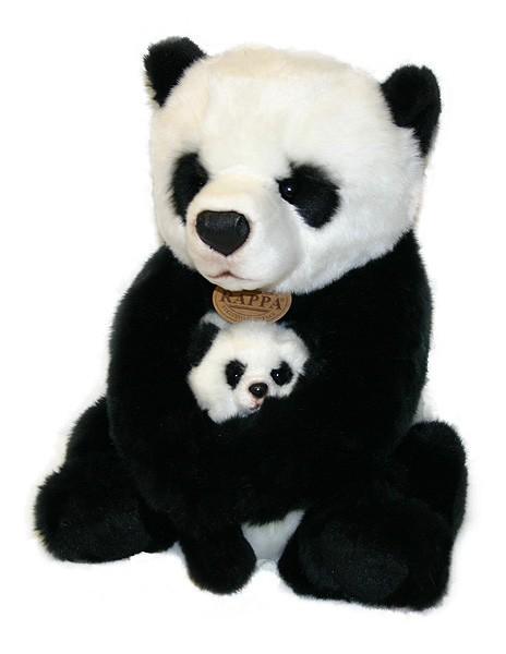 Plyšová panda s mláďaťom 27cm