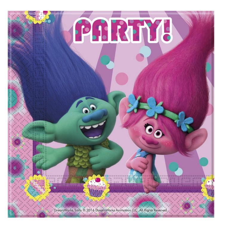 Party servítky Trollovia 33x33cm -20ks