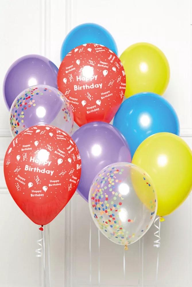 AMSCAN Narodeninové balóny sada 10ks mix so šnúrami, 27,5cm široké