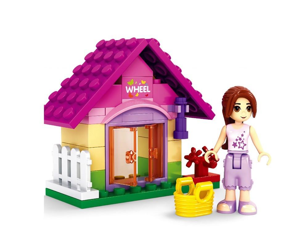 Stavebnica AUSINI dievčenský set v sáčku- záhradný domček 44 dielov