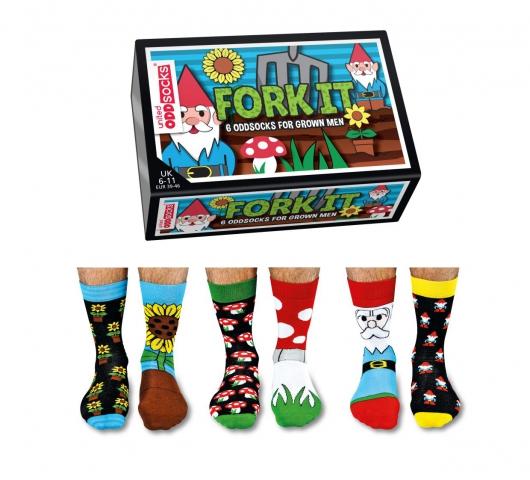 Veselé vzorované pánske ponožky Fork v darčekovej krabičke- 3 páry 39/45