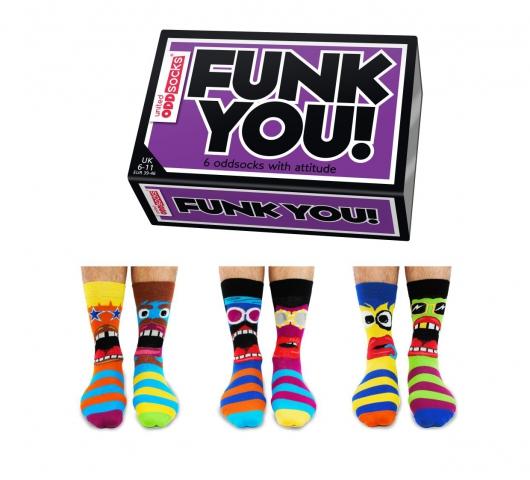 Veselé vzorované pánske ponožky Funk  v darčekovej krabičke- 3 páry 39/45