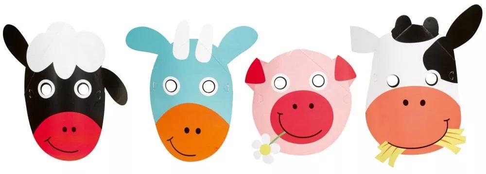 Papierová maska - Zvieratká z farmy