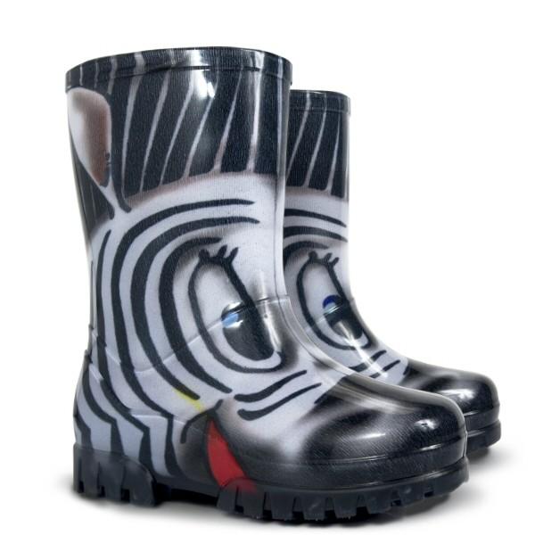 Dievčenské gumáky DEMAR - Twister Print S nezateplené - Zebra  34/35