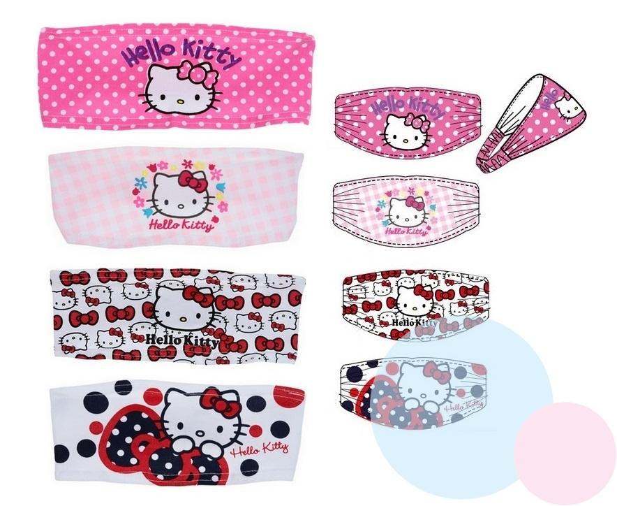 Čelenka Hello Kitty uni,biela/červené mašličky