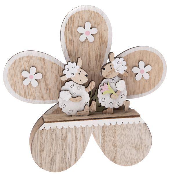 Drevená dekorácia- kvietok s ovečkami