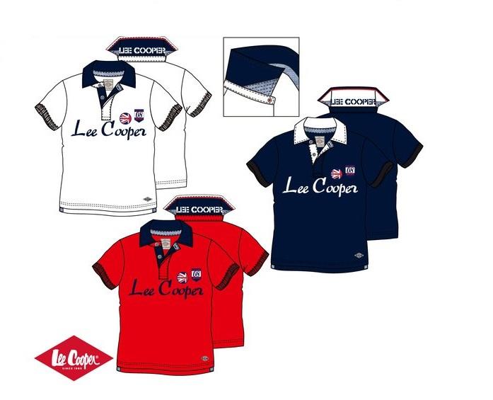 Tričko Lee Cooper- červené, biele a modré 176, biele