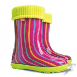 Dievčenské gumáky DEMAR - Twister Lux Print AG zateplené - Pásiky 63e600de2bf