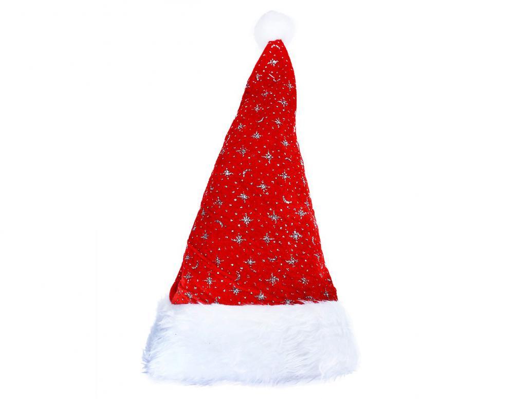 Čiapka Vianočná  strieborné hviezdy