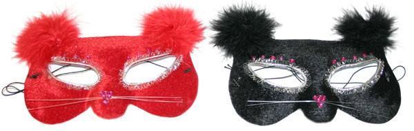 Maska očná mačka s perím, farba červená