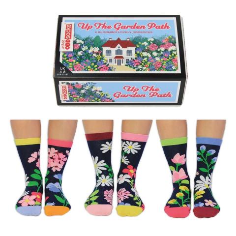 Veselé vzorované dámske ponožky UP THE GARDEN   v darčekovej krabičke- 3 páry 37/42