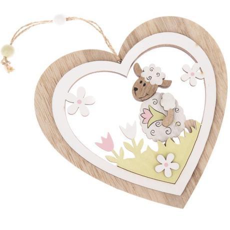 Drevená dekorácia srdce s ovečkami 16cm